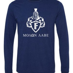 navy blue long sleeve spartan tee